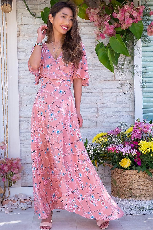 Cinnamon Pink Perfection Maxi Wrap Dress $89.99