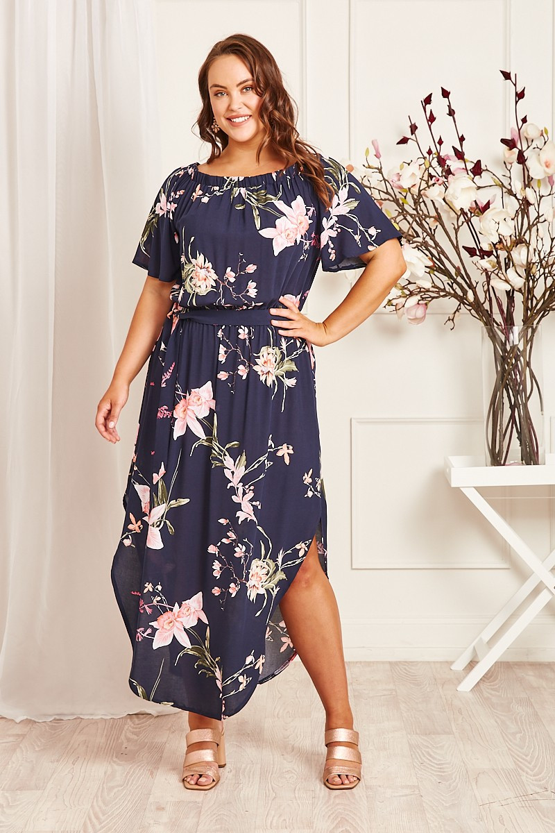 Hummingbird Dress In Navy With Apricot Floral $69.90
