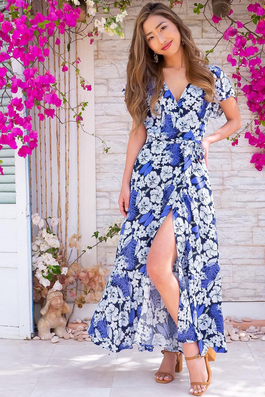 Phinda Blue Island Maxi Wrap Dress $89.99