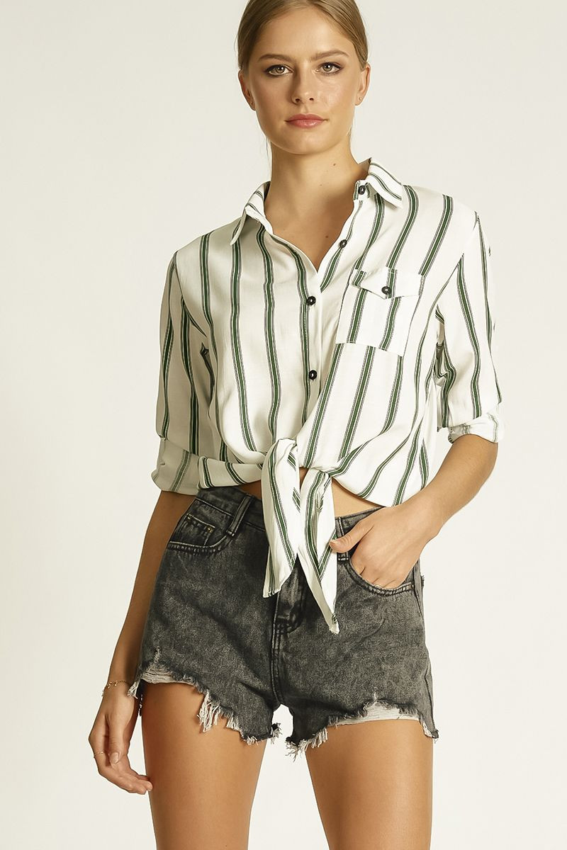TIE UP SHIRT WITH ROLL UP CUFF (326106) SKU 326106_B120_TWT $15.99
