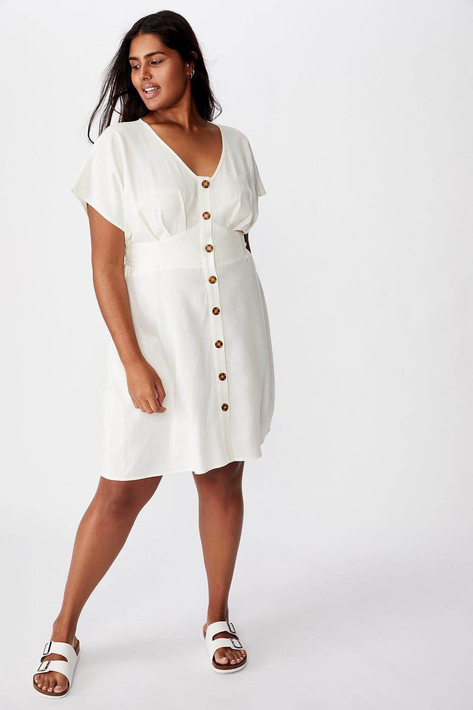 Curve Button Front Mini Dress $39.99
