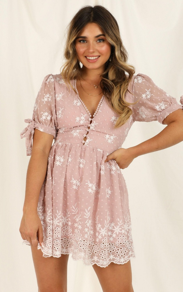 See The World Dress In Blush Embroidery $74.95
