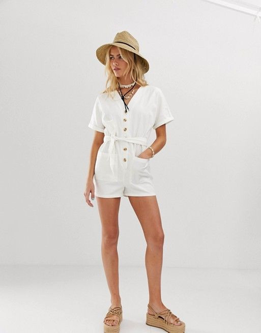 ASOS DESIGN kimono sleeve button through soft denim playsuit with belt $48.00$60.00