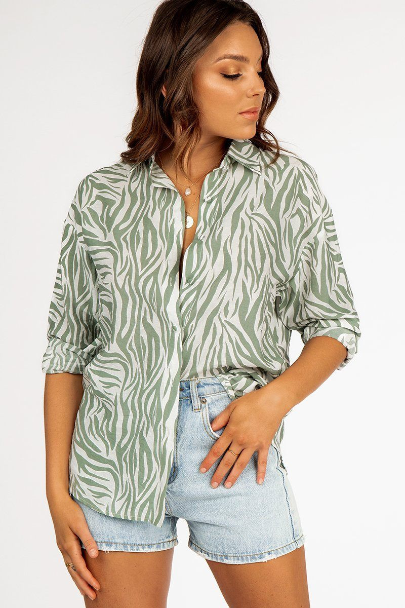 ZEPHER GREEN ZEBRA SHIRT DISSH EXCLUSIVE  $59.99
