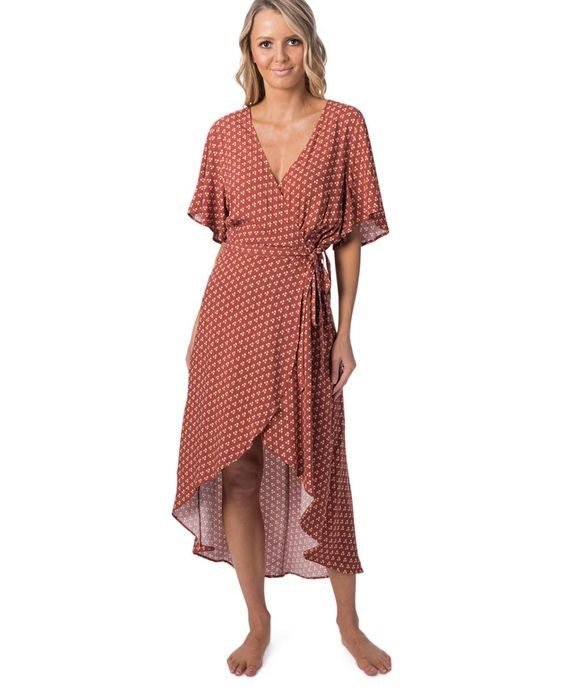 Saffron Skies Wrap Dress $99.99