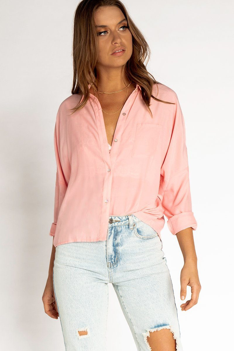 ABOUT ME PINK BUTTON FRONT SHIRT DISSH EXCLUSIVE  Regular price $49.99 $29.00