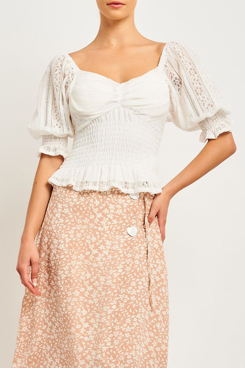 DANA SHIRRED PEASANT TOP SKU 323600_A530_WHT Now Only$15.99 $29.99