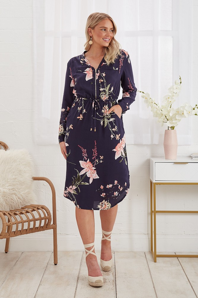 Rival Dress In Navy With Apricot Floral $79.90