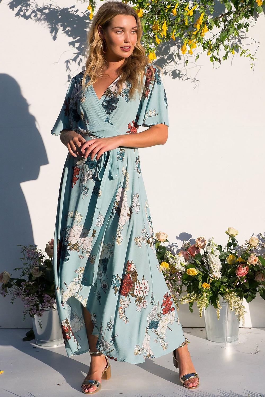 Cinnamon Sea Coast Maxi Wrap Dress $89.99 AUD