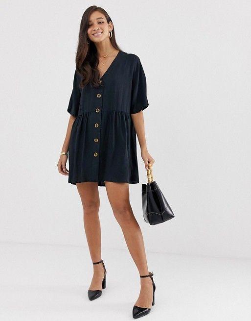 ASOS DESIGN v neck button through mini smock dress $60.00
