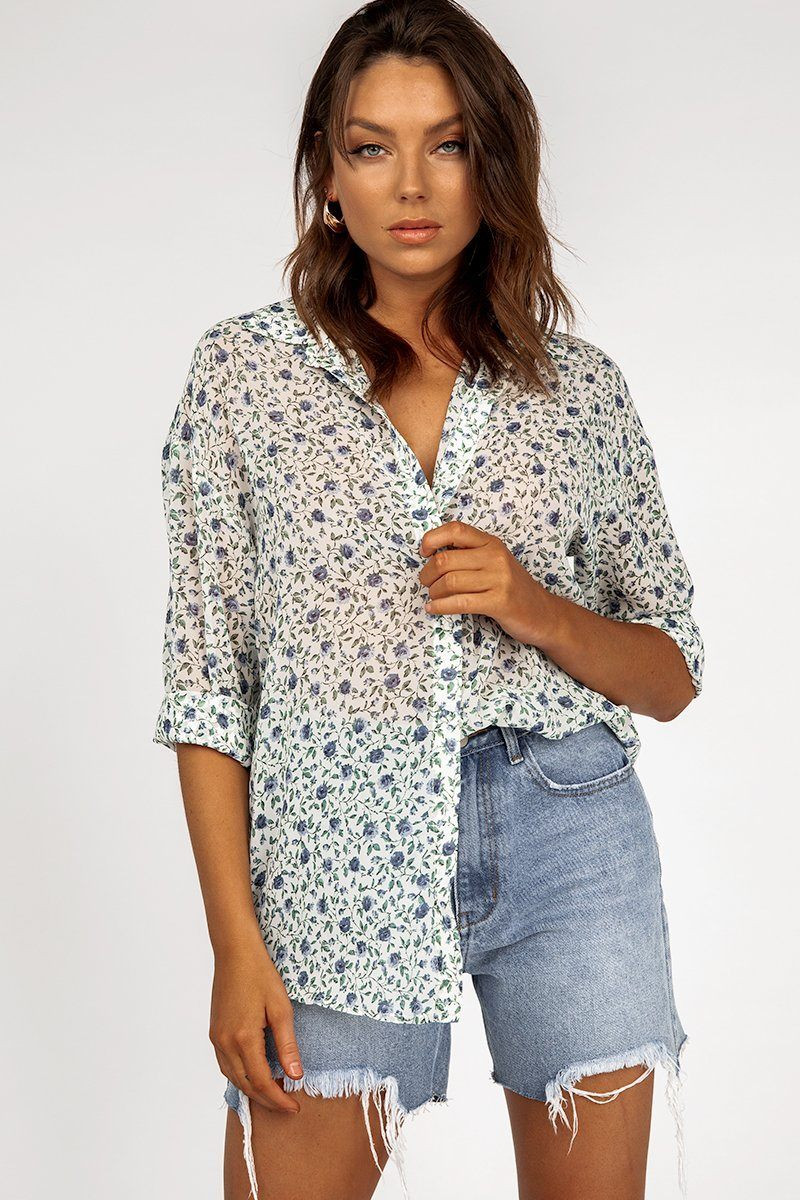 HARVEST WHITE FLORAL SHIRT DISSH EXCLUSIVE  Regular price $59.99 $49.00