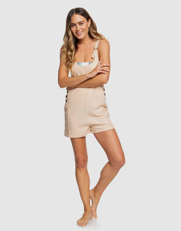 ROXY  Womens Follow The Hills Linen Overalls Playsuit SALE $55.99 (Was $79.99)