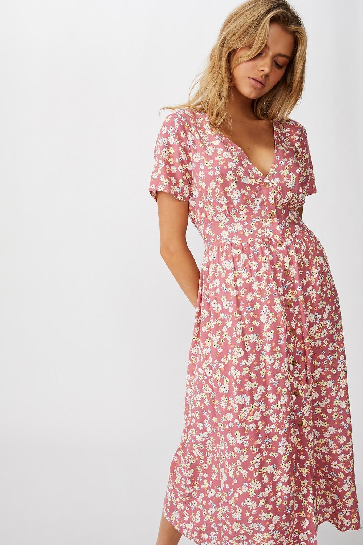 Woven Clover Short Sleeve Midi Dress $44.99