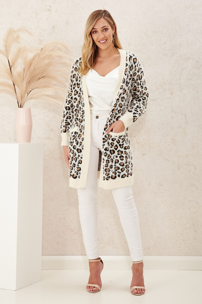 Lea Knit Cardigan In White Leopard Print Special Price $22.00  $89.90