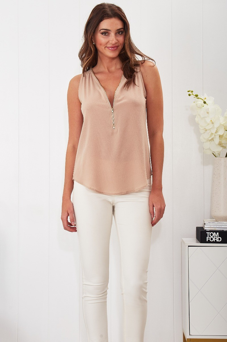 Maia Top In Beige Special Price $22.00 (Was $44.90)