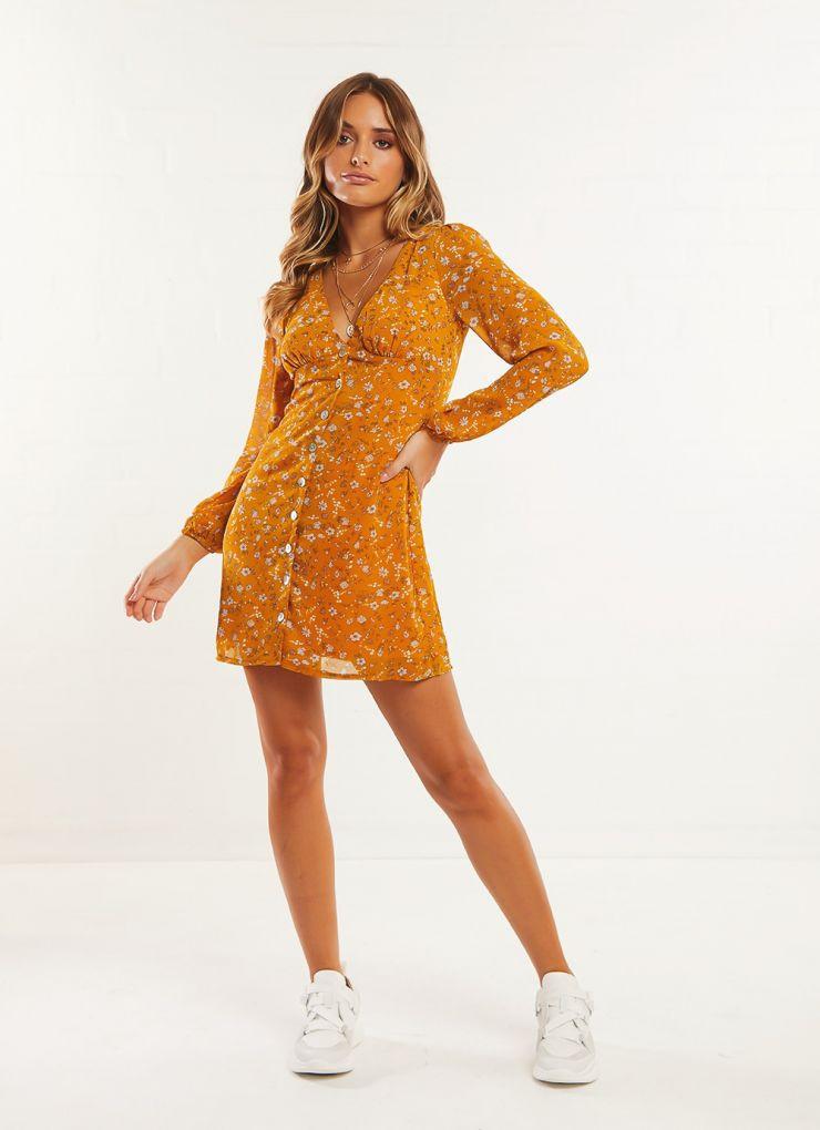 Nina Williams Dress - Mustard Now $55.96 (Was $69.95)