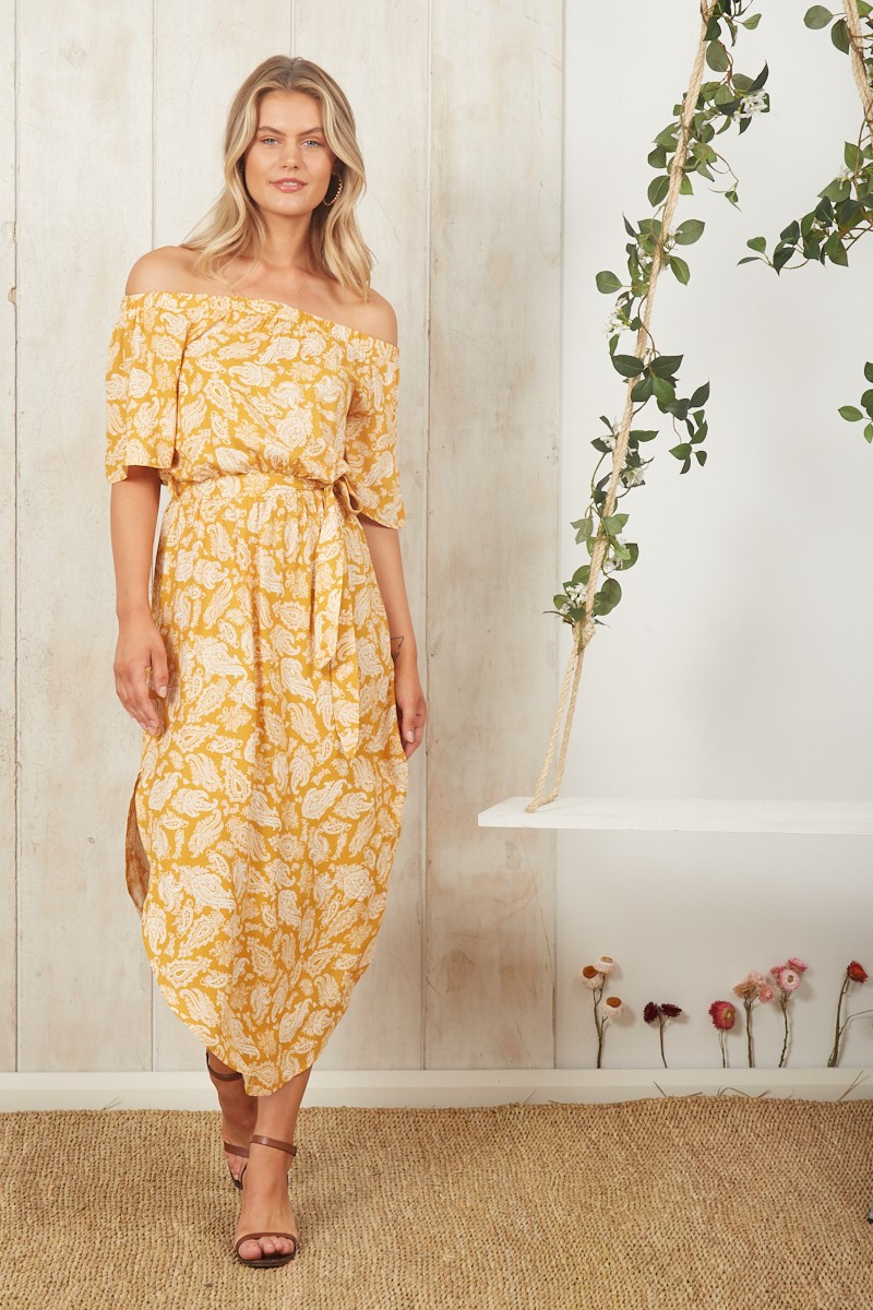 Hummingbird Dress In Mustard With White Floral $69.90