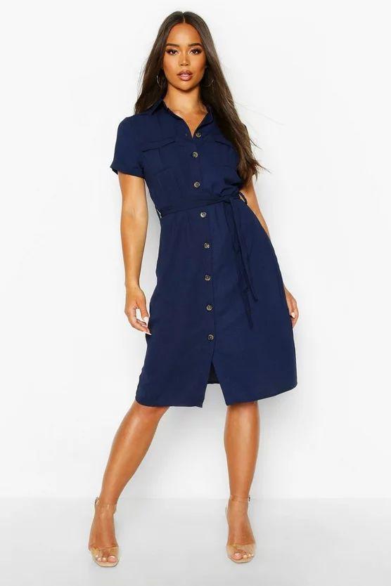 Woven Button Through Tie Waist Shirt Dress