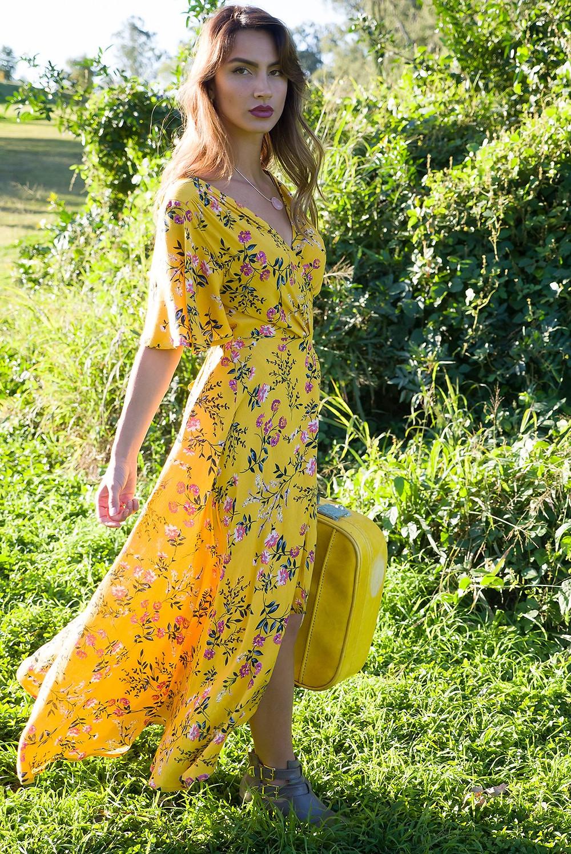Cinnamon Garden Gold Maxi Wrap Dress $89.99