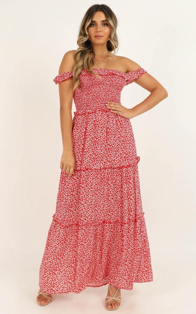 Beauty Around Us Dress In Red Floral $69.95