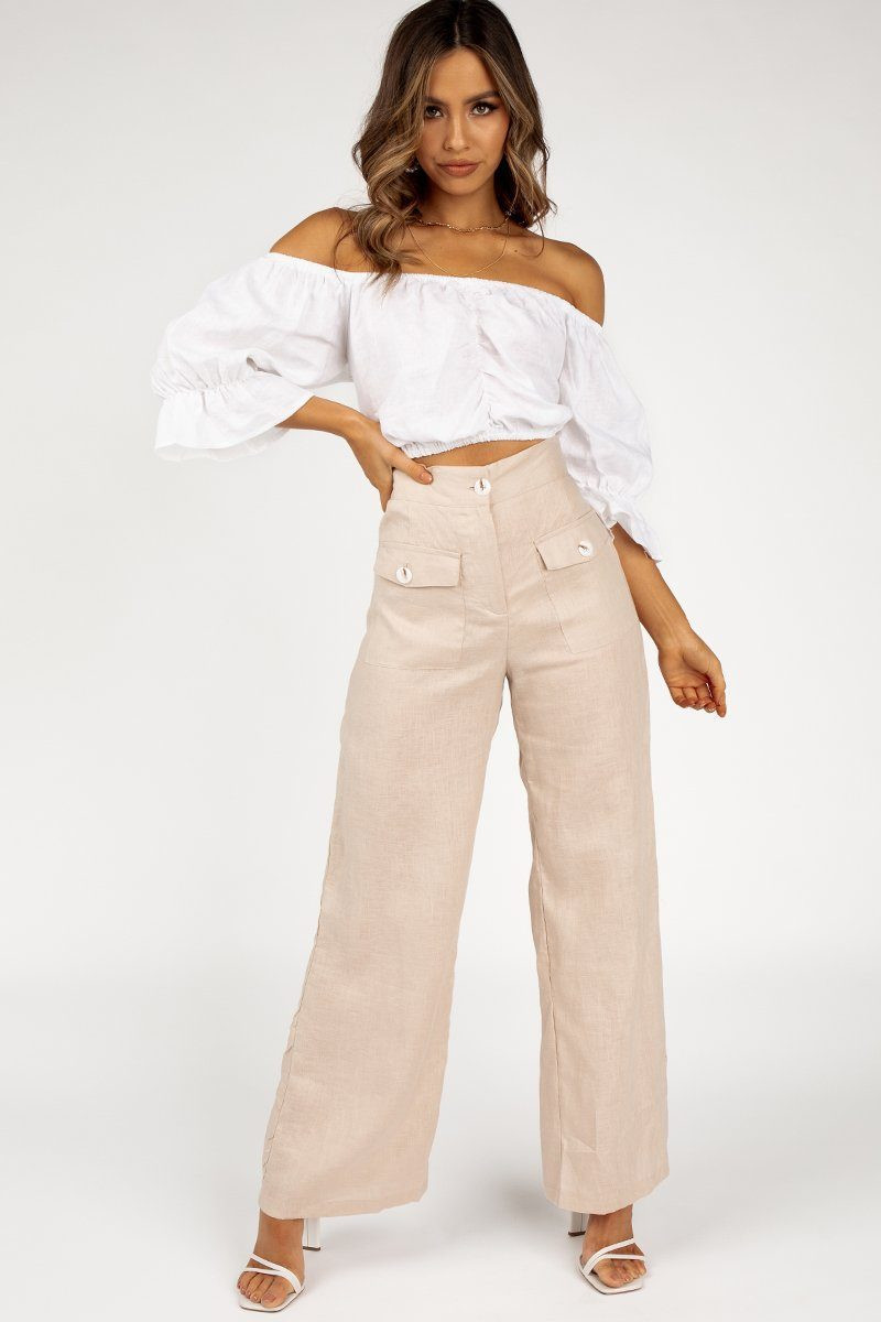AMOUR WHITE LINEN GATHERED CROP TOP DISSH EXCLUSIVE  $69.99