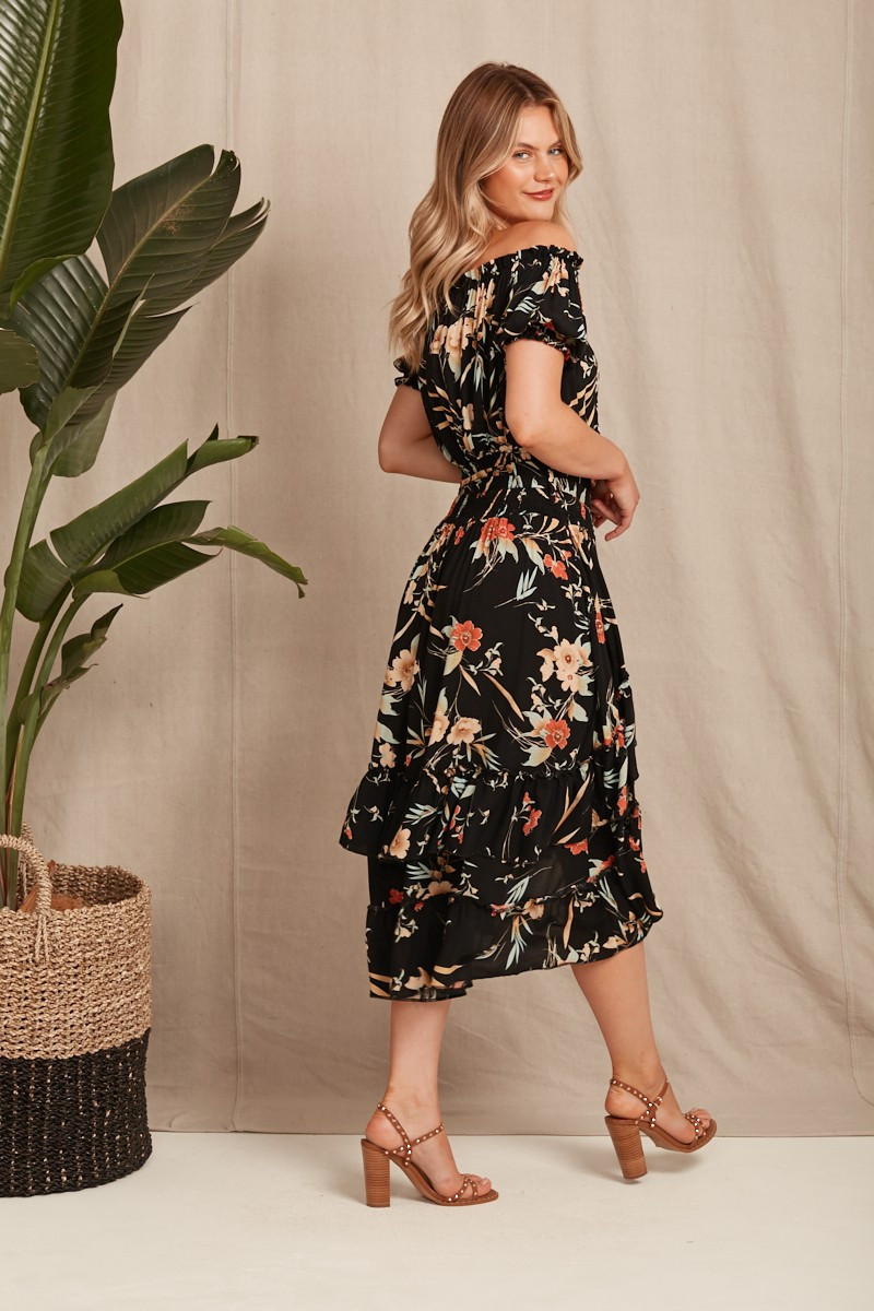Edwina Dress In Black With Beige Floral $69.90