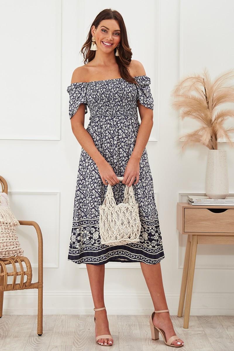 Prue Dress In Navy Boho Floral Special Price $55.00  $79.90