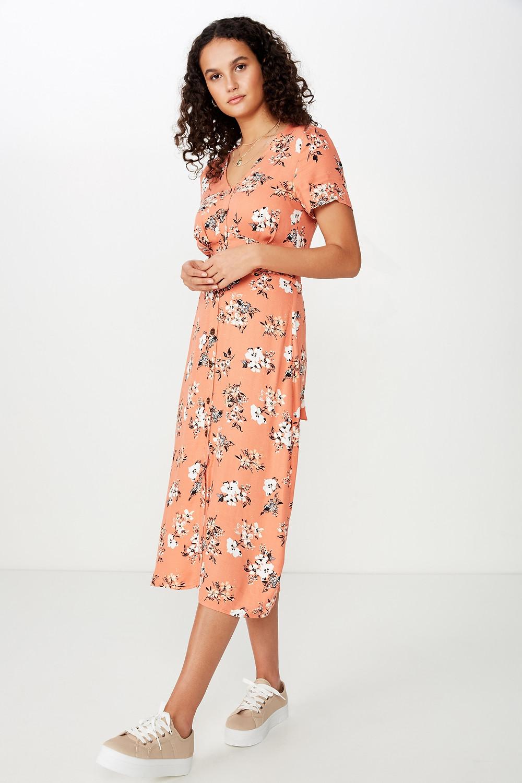 Woven Cherry Button Front S/S Midi Dress $44.99
