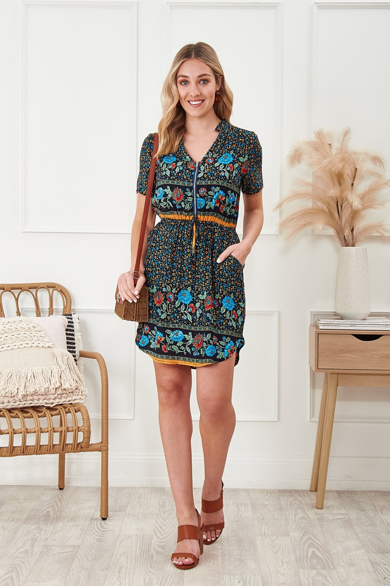 Now Or Never Dress In Black Floral Special Price $45.00 (Was $64.90)