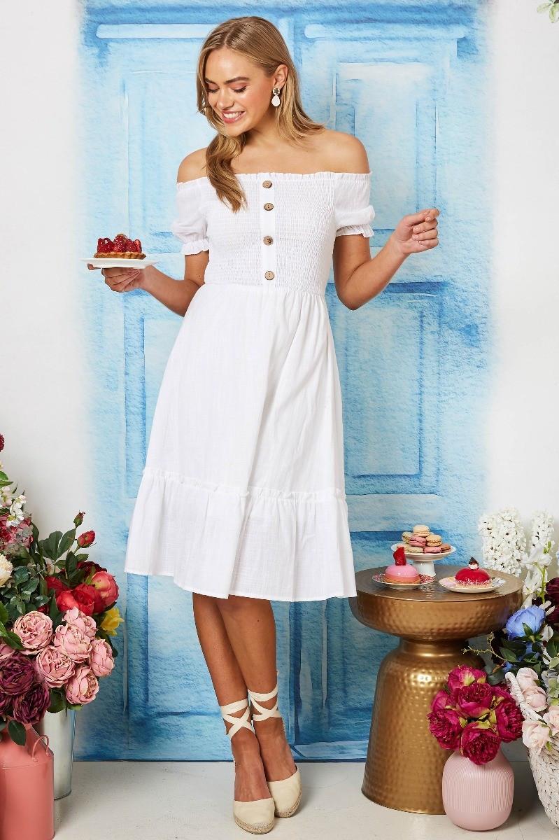 Summer In Paris Linen Dress In White Special Price $34.00  $69.90