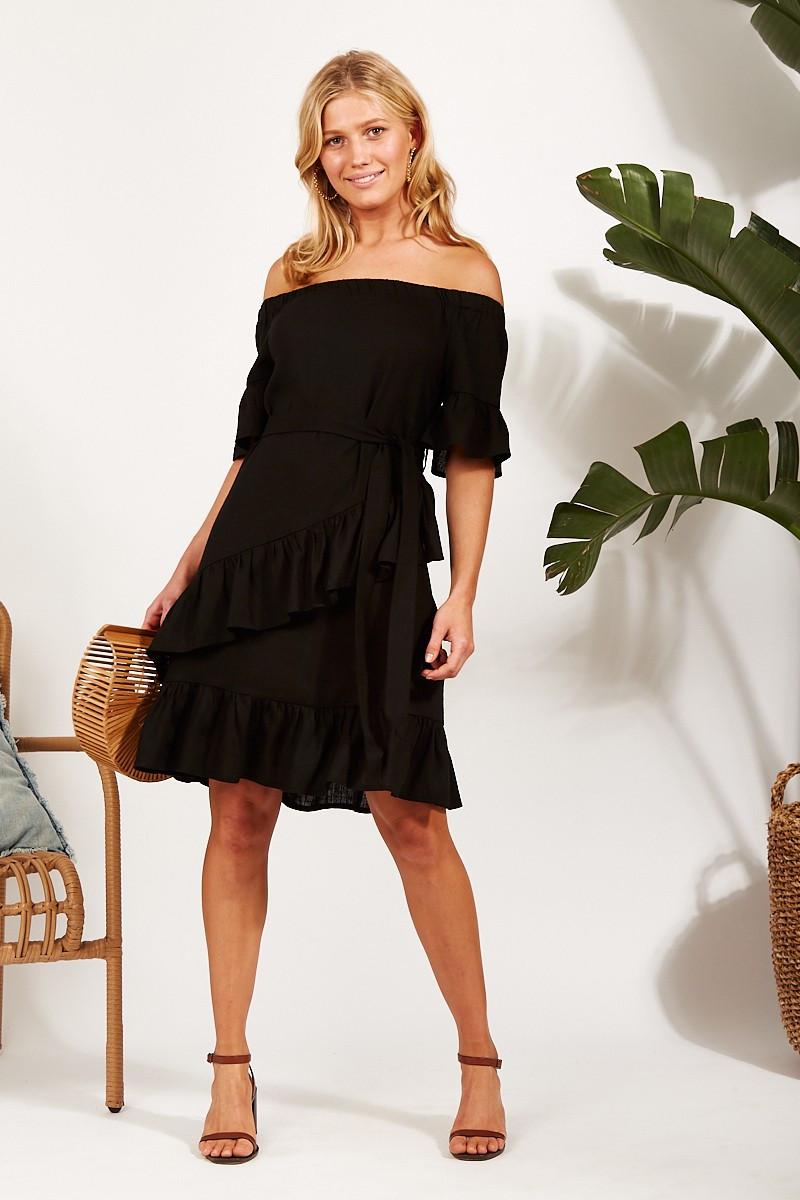 Bon Bon Linen Dress In Black $69.90