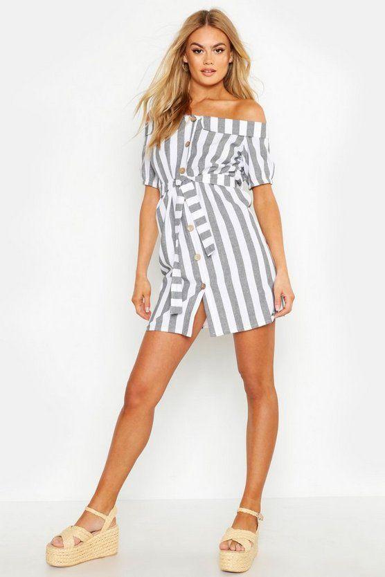 Off The Shoulder Belted Linen Stripe Dress