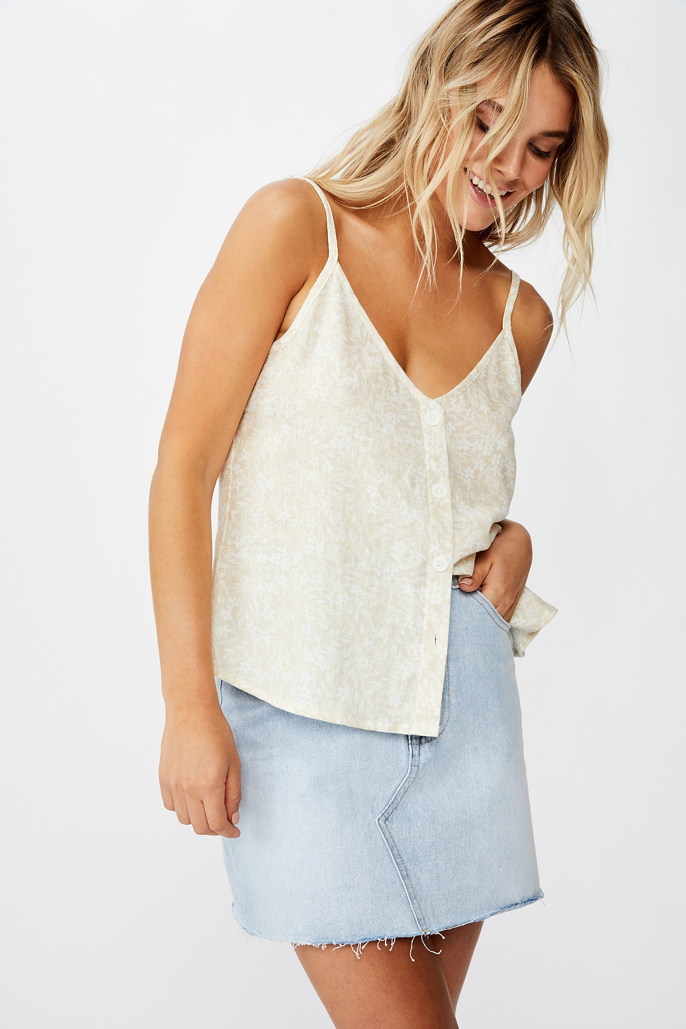 Amy V Neck Cami With Buttons $19.99