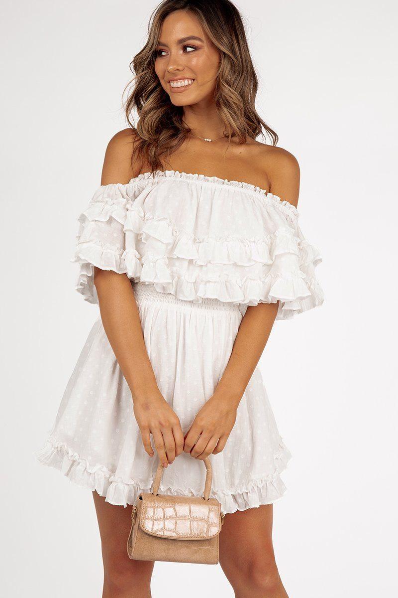 WHIMSY OFF SHOULDER WHITE DRESS ONLINE ONLY Regular price $89.99 $59.00