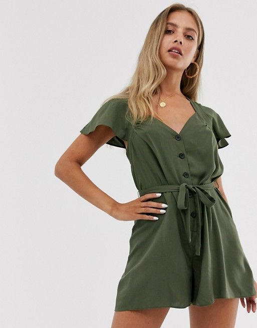 ASOS DESIGN frill sleeve playsuit with cut out back $39.00$56.00