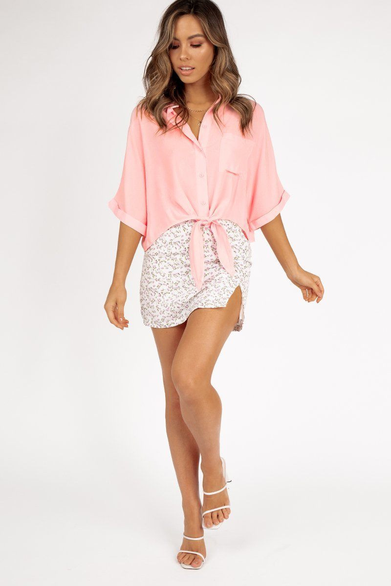 FRENCH TWIST TIE FRONT PINK SHIRT DISSH EXCLUSIVE  ONLINE ONLY $49.99