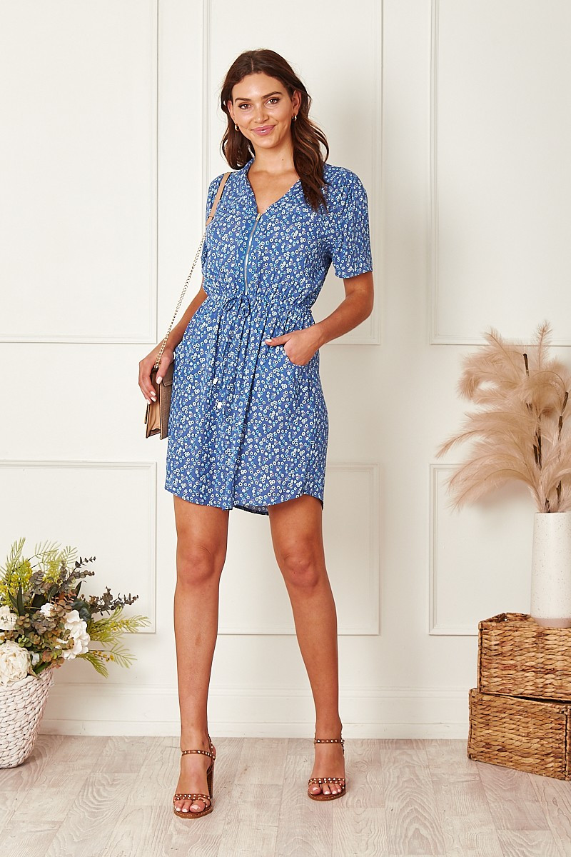 Now Or Never Dress In Small Blue Floral $64.90