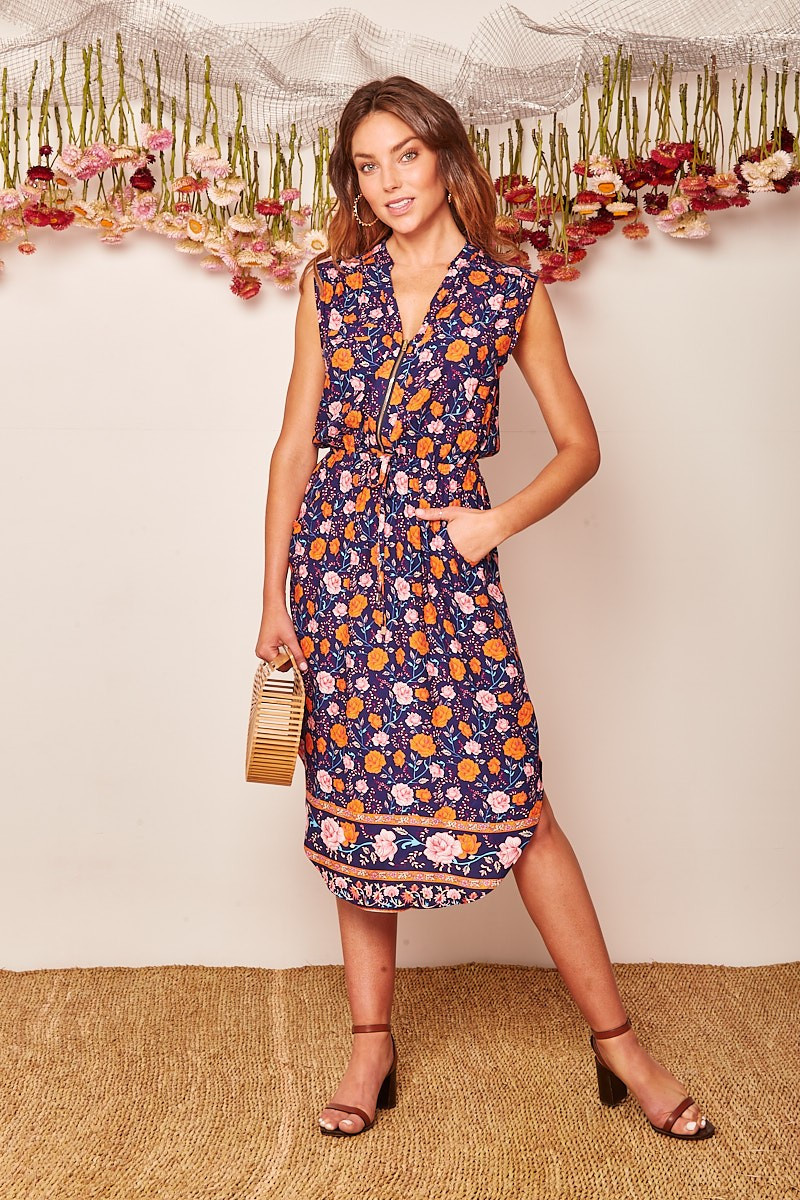 Shire Dress In Navy With Orange And Blush Floral $69.90