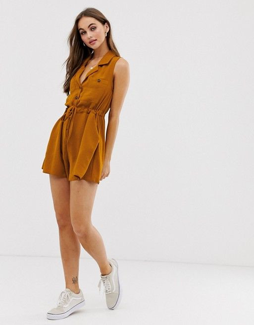 ASOS DESIGN button front pocket sleeveless utility playsuit $51.00$64.00