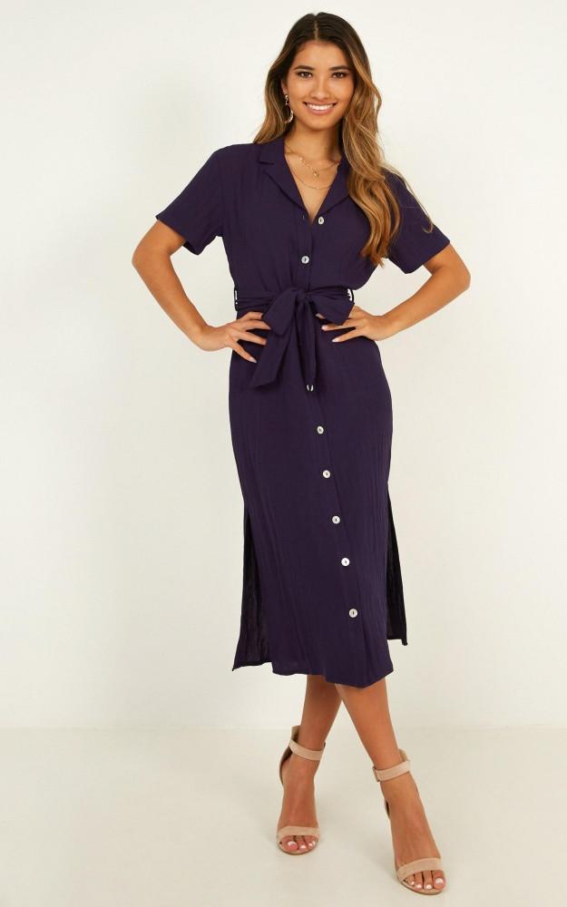 Morning Stroll Dress In Navy Linen Look $74.95