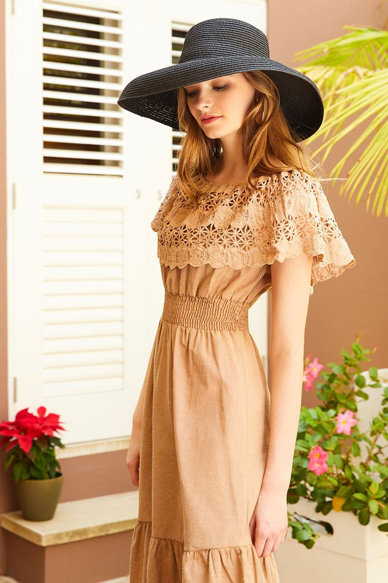 EMMA BRODERIE DRESS (324419) SKU 324419_B110_BEG $34.99
