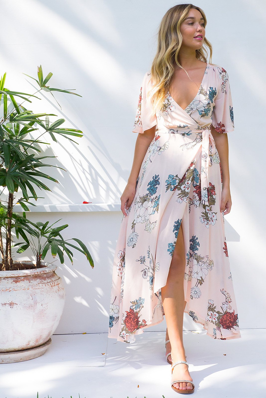 Cinnamon Sea Coast Pink Maxi Wrap Dress $89.99 AUD
