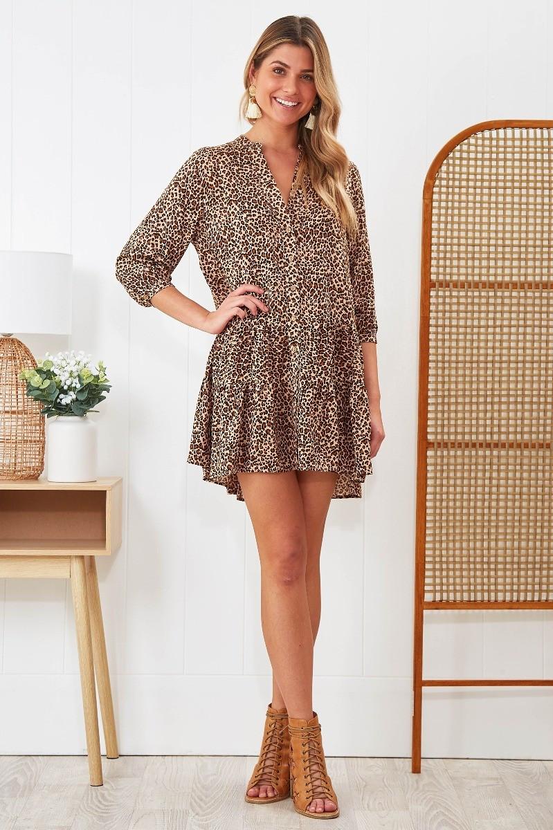 Cindy Dress In Leopard Print $69.90