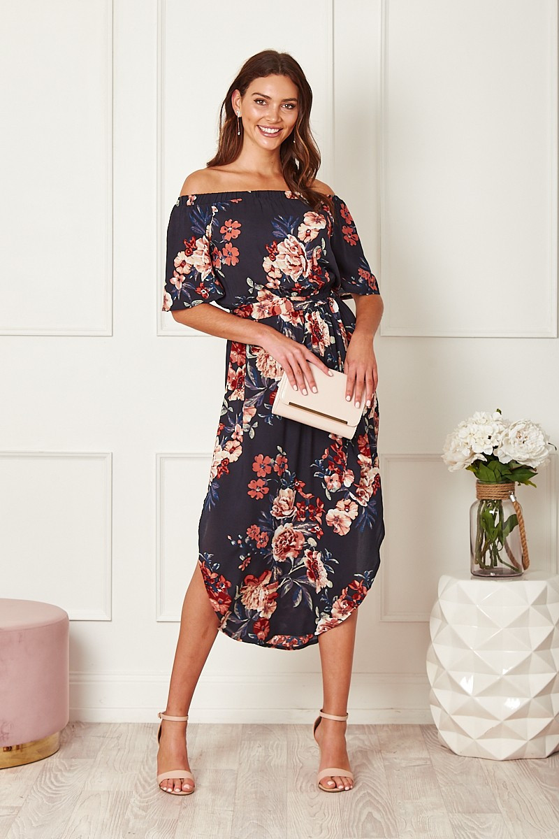 Hummingbird Dress In Navy With Rust Floral $69.90