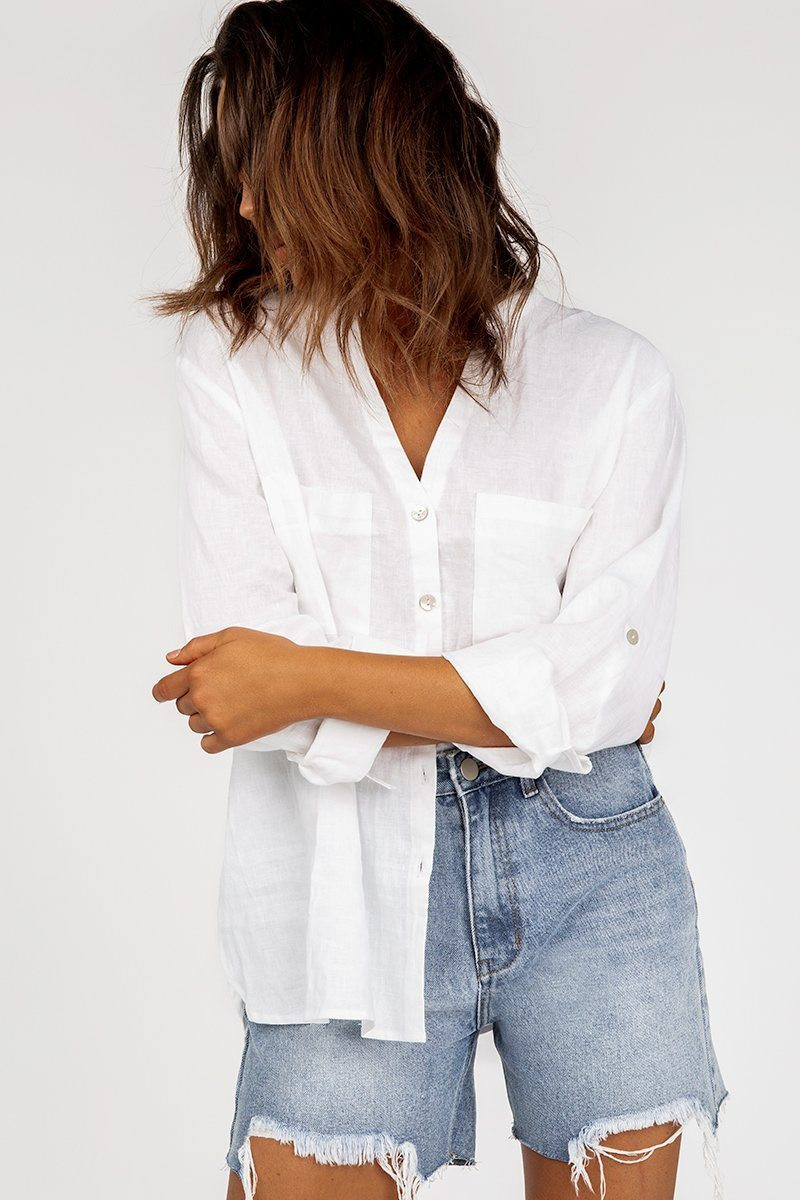 JOURNEY WHITE LINEN SHIRT DISSH EXCLUSIVE  $79.99