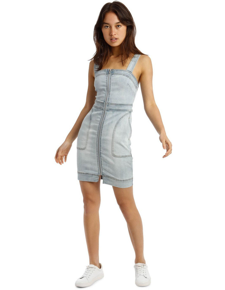 Zip Thru Utility Pocket Denim Dress $59.95