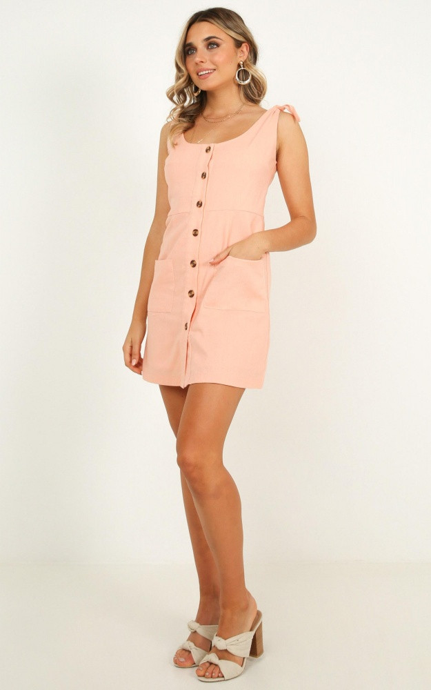 Seen On Stage Dress In Peach Linen Look Price: AU$69.95 AU$42.00