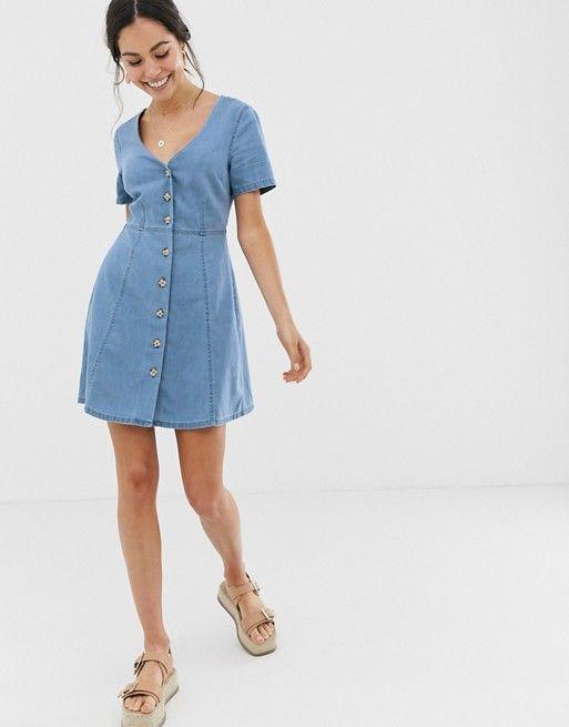 ASOS DESIGN denim tea dress with mock horn buttons in blue $36.00$52.00