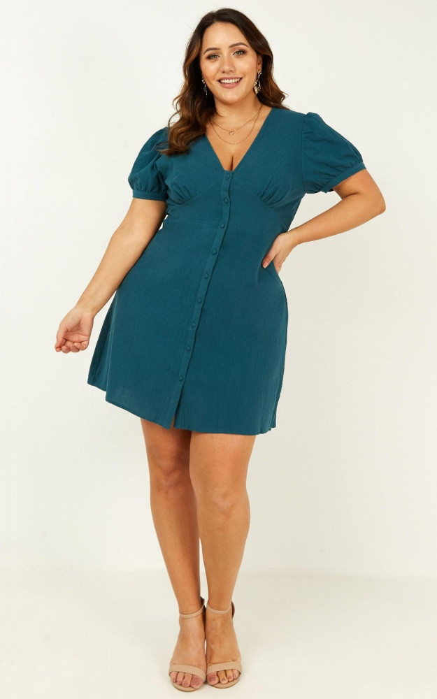 Morning Vibes Dress In Emerald $69.95