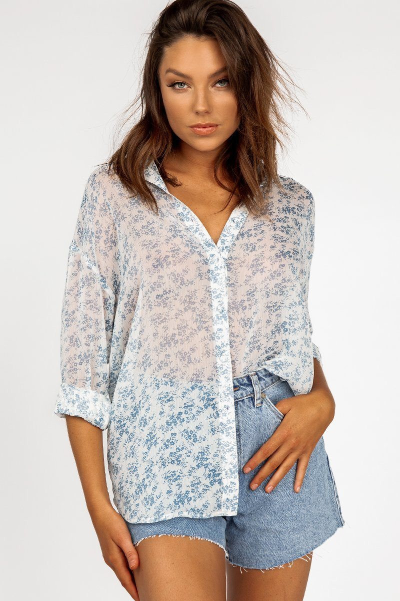 MAGNOLIA WHITE FLORAL SHIRT DISSH EXCLUSIVE  $59.99